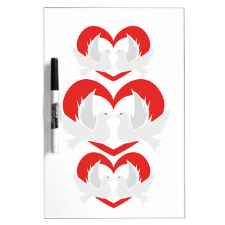 Illustration peace doves with heart dry erase boards
