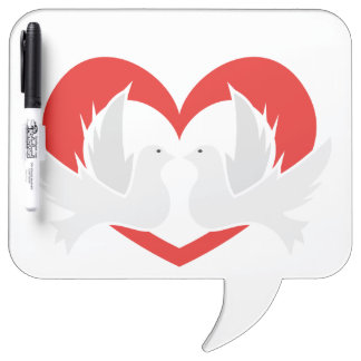 Illustration peace doves with heart Dry-Erase whiteboard