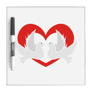 Illustration peace doves with heart dry erase whiteboards