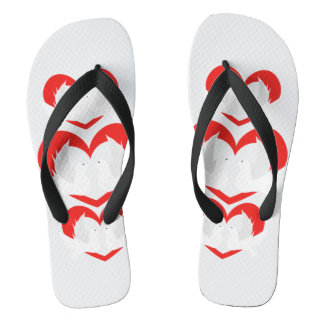 Illustration peace doves with heart flip flops