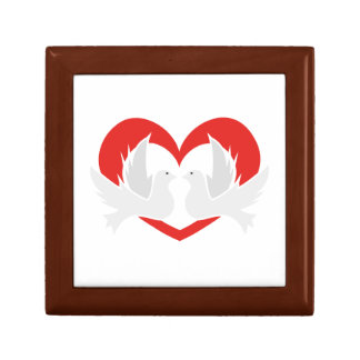 Illustration peace doves with heart gift box