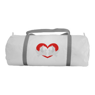 Illustration peace doves with heart gym bag