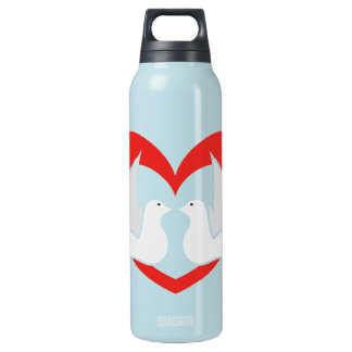 Illustration peace doves with heart insulated water bottle