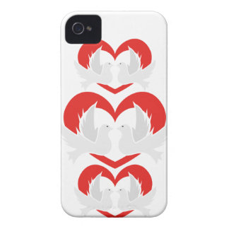 Illustration peace doves with heart iPhone 4 case