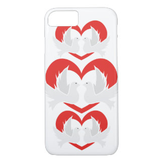 Illustration peace doves with heart iPhone 8/7 case