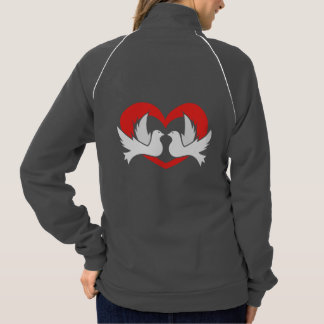 Illustration peace doves with heart jacket