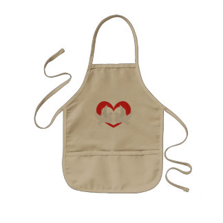 Illustration peace doves with heart kids apron