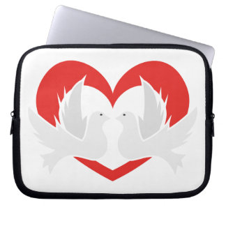 Illustration peace doves with heart laptop sleeve