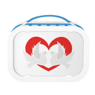 Illustration peace doves with heart lunch box