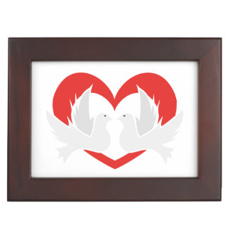 Illustration peace doves with heart memory box