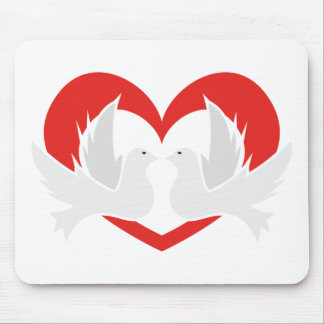 Illustration peace doves with heart mouse pad