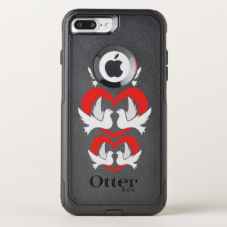 Illustration peace doves with heart OtterBox commuter iPhone 7 plus case