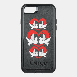 Illustration peace doves with heart OtterBox commuter iPhone 8/7 case