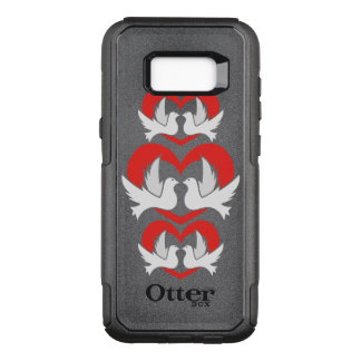 Illustration peace doves with heart OtterBox commuter samsung galaxy s8+ case