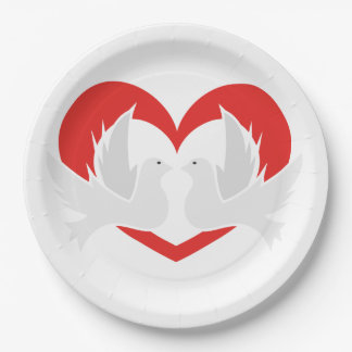 Illustration peace doves with heart paper plate