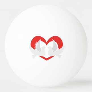 Illustration peace doves with heart ping pong ball