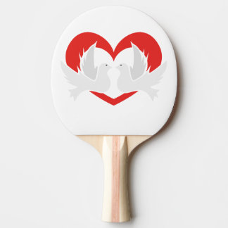 Illustration peace doves with heart ping pong paddle
