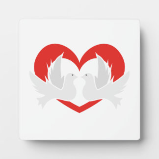 Illustration peace doves with heart plaque