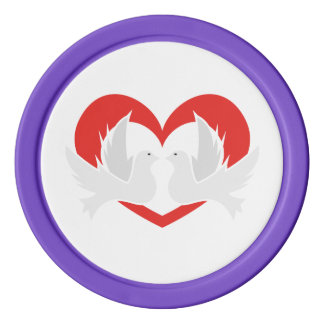 Illustration peace doves with heart poker chips
