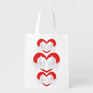 Illustration peace doves with heart reusable grocery bag