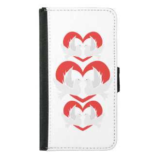Illustration peace doves with heart samsung galaxy s5 wallet case