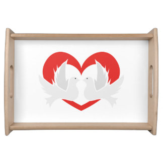 Illustration peace doves with heart serving tray