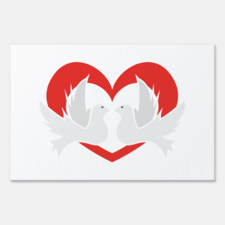 Illustration peace doves with heart sign