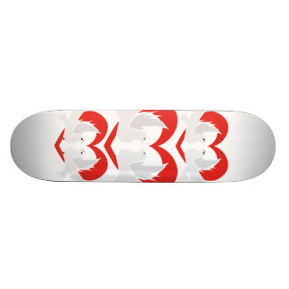 Illustration peace doves with heart skate boards
