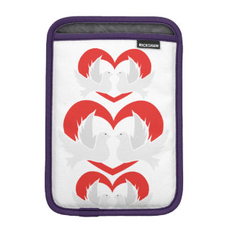 Illustration peace doves with heart sleeve for iPad mini