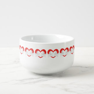 Illustration peace doves with heart soup mug