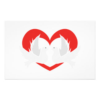 Illustration peace doves with heart stationery