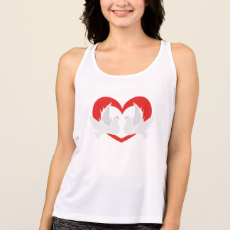 Illustration peace doves with heart tank top