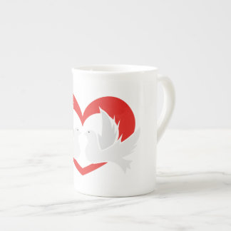 Illustration peace doves with heart tea cup