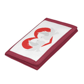 Illustration peace doves with heart trifold wallet