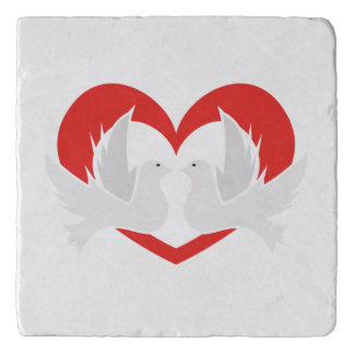 Illustration peace doves with heart trivet