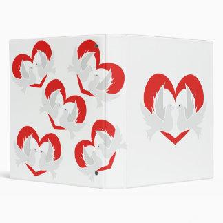 Illustration peace doves with heart vinyl binder