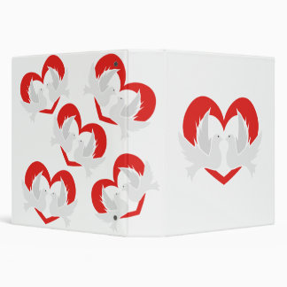 Illustration peace doves with heart vinyl binders
