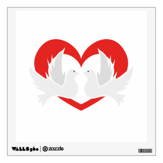 Illustration peace doves with heart wall decal