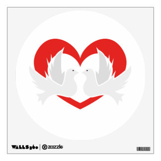 Illustration peace doves with heart wall sticker