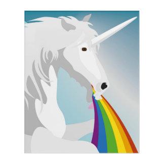 Illustration puking Unicorns Acrylic Wall Art