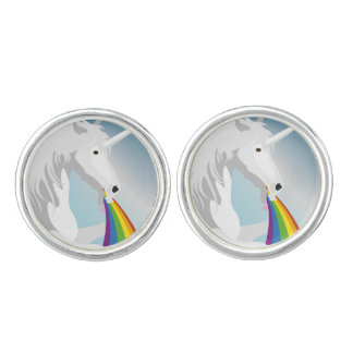 Illustration puking Unicorns Cufflinks