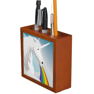 Illustration puking Unicorns Desk Organizer