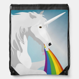 Illustration puking Unicorns Drawstring Bag