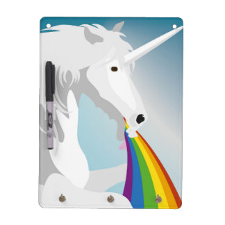 Illustration puking Unicorns Dry Erase Board