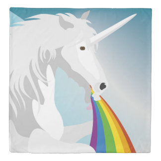 Illustration puking Unicorns Duvet Cover