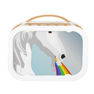 Illustration puking Unicorns Lunch Box