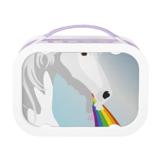 Illustration puking Unicorns Lunch Box