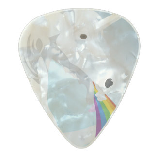 Illustration puking Unicorns Pearl Celluloid Guitar Pick