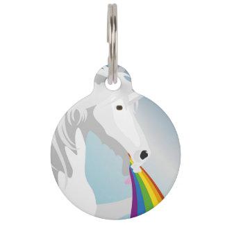 Illustration puking Unicorns Pet Name Tag
