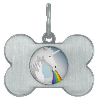Illustration puking Unicorns Pet Tag